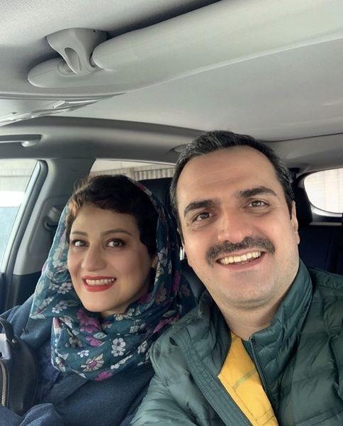 سلفی بازیگر «افرا» و همسرش در ماشین /عکس