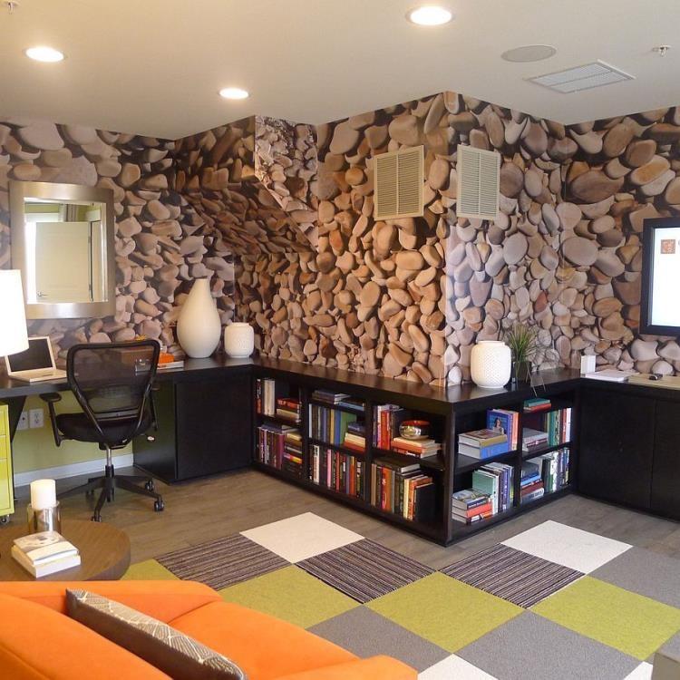 طرح سه بعدی کاغذ دیواری لوکس برای محل کار