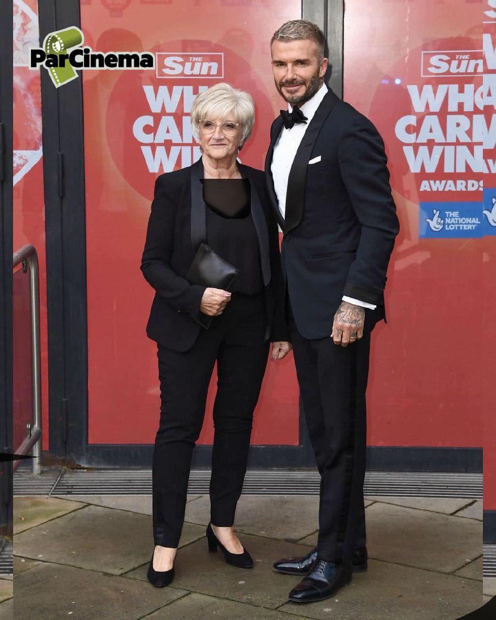 دیوید بکهام و مادرش در مهمانی خیریه /عکس