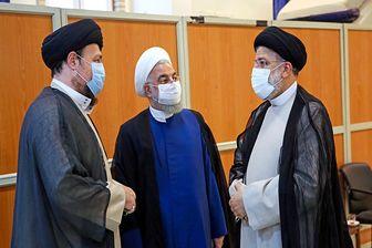 حسن خمینی در کنار روحانی و رئیسی/عکس