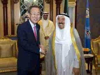 استقبال بان کی مون از حضور کویت در نشست بغداد