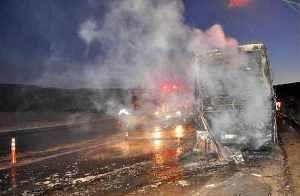 آتش سوزی اتوبوس حامل زائران در خدابنده