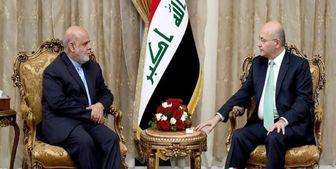 دیدار سفیر ایران در بغداد با رئیس جمهور عراق