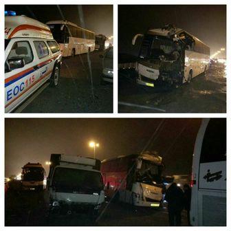تصادف مرگبار سه اتوبوس با پراید در شب گذشته