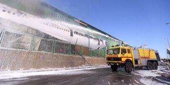 آتشگرفتن هواپیمای اسقاطی ماهان در فرودگاه امام