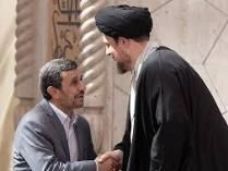 دست نوازش سید حسن بر سر احمدی نژاد