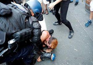استفاده پلیس فرانسه از گاز اشکآور و ماشینهای آبپاش در برابر اعتراضات