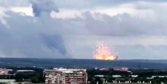 انفجار مهیب در یک زاغه مهمات در روسیه