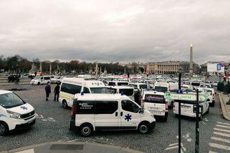 تظاهرات رانندگان معترض آمبولانس در پاریس