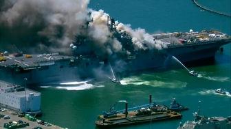 انفجار در ناو هواپیمابر آمریکایی/ مجروح شدن21 آمریکایی