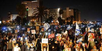 برگزاری تجمع اعتراضی به نخست وزیر اسرائیل در سواحل تل آویو
