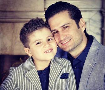 پویا امینی و پسرش/ عکس