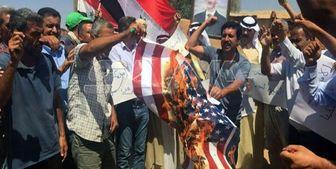 مردم  سوریه پرچم آمریکا را به آتش کشیدند