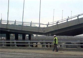 برچیدن پل موقت تقاطع رودخانه کن با بزرگراه فتح