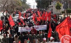 تظاهرات گسترده در غزه در چهلوچهارمین سالروز تاسیس جبهه دموکراتیک
