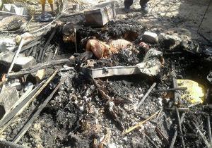 پیرزن کپر نشین در آتش سوخت