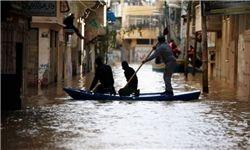 غرق شدن ده ها خانه مسکونی در غزه