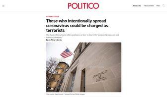 دادگستری آمریکا: تلاش برای شیوع ویروس کرونا مصداق حملات تروریستی است!