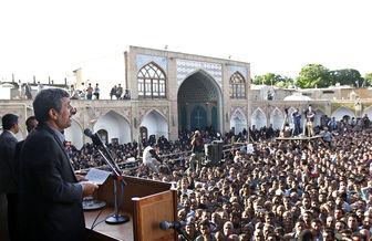 کنایه زنجانی ها به روحانی در حضور احمدی نژاد+فیلم