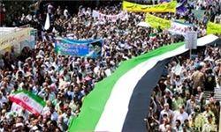 حضور فرزند رهبر معظم انقلاب در راهپیمایی روز قدس+عکس