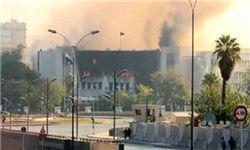 آتش گرفتن ساختمان ستاد ارتش سوریه + فیلم