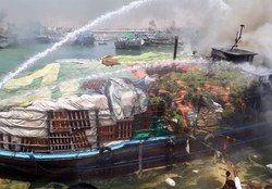 آتشسوزی در اسکله کنگان