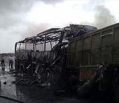 تصادف خونین دو کامیون در جاده ورامین